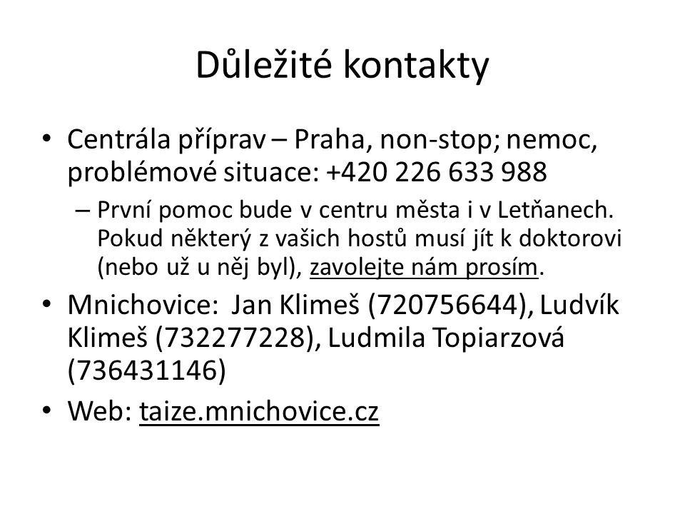 Důležité kontakty Centrála příprav – Praha, non-stop; nemoc, problémové situace: +420 226 633 988 – První pomoc bude v centru města i v Letňanech.