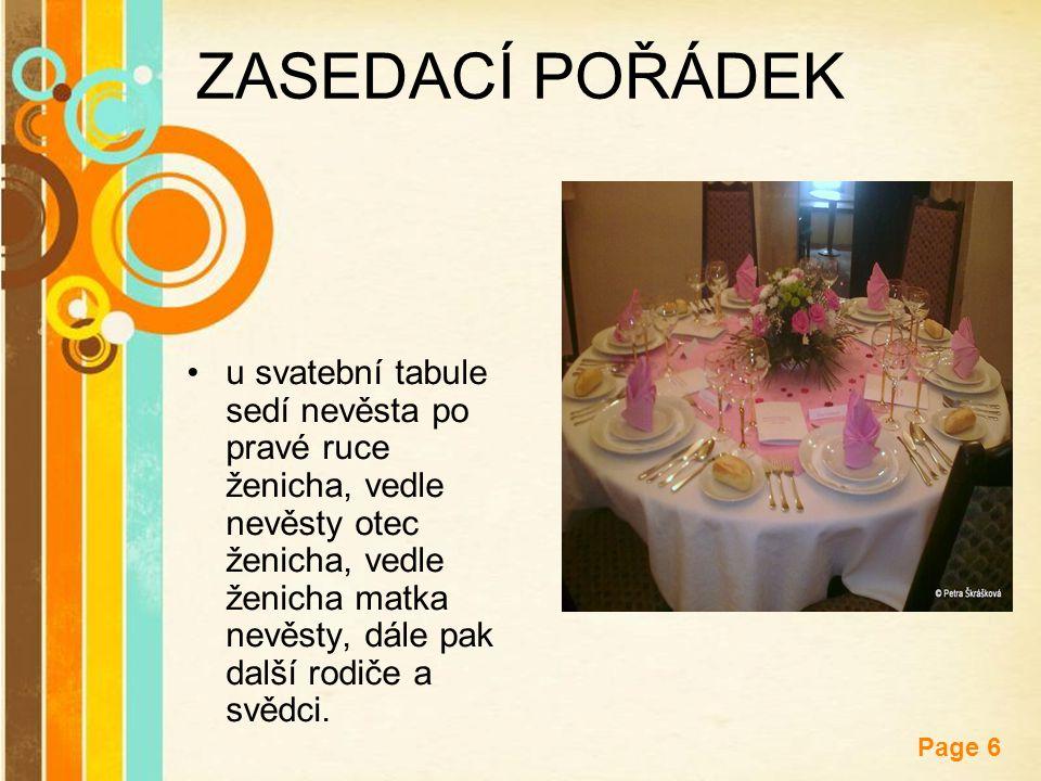 Free Powerpoint Templates Page 6 ZASEDACÍ POŘÁDEK u svatební tabule sedí nevěsta po pravé ruce ženicha, vedle nevěsty otec ženicha, vedle ženicha matk