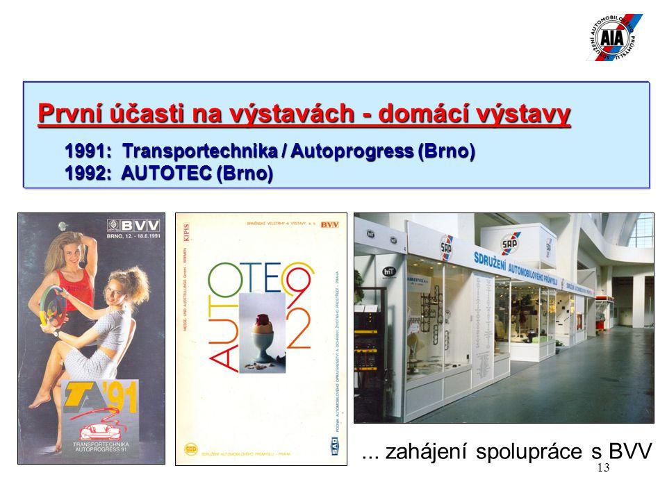 13 První účasti na výstavách - domácí výstavy První účasti na výstavách - domácí výstavy 1991: Transportechnika / Autoprogress (Brno) 1992: AUTOTEC (Brno)...