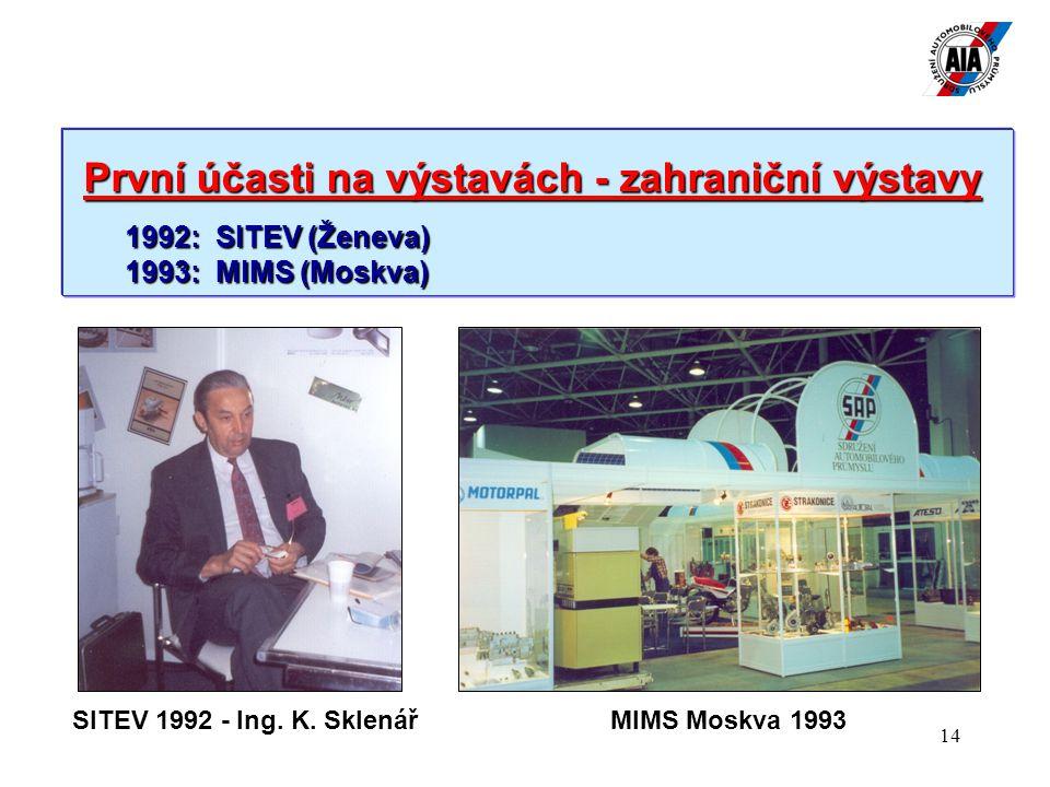 14 První účasti na výstavách - zahraniční výstavy První účasti na výstavách - zahraniční výstavy 1992: SITEV (Ženeva) 1993: MIMS (Moskva) SITEV 1992 - Ing.
