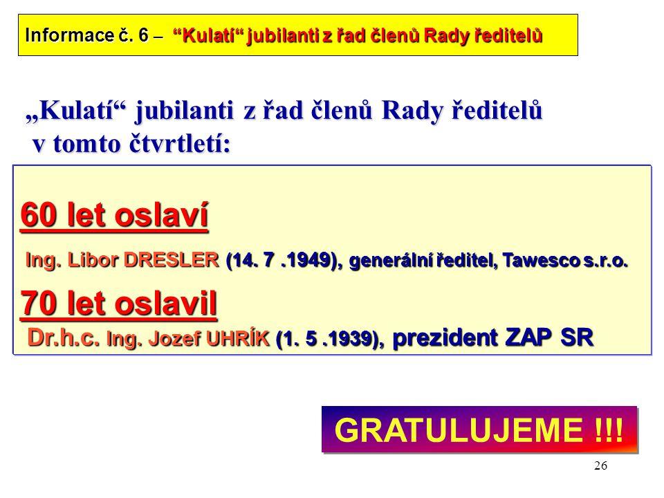 """26 """"Kulatí jubilanti z řad členů Rady ředitelů v tomto čtvrtletí: 60 let oslaví Ing."""