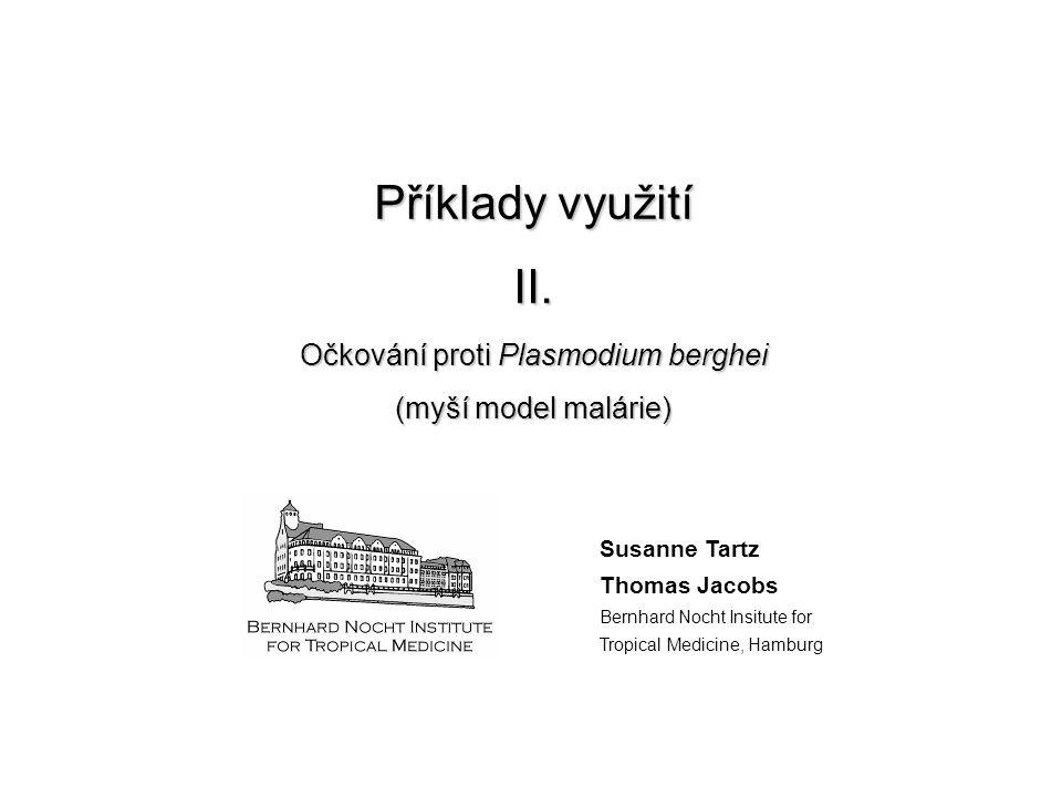 Příklady využití II. Očkování proti Plasmodium berghei (myší model malárie) Susanne Tartz Thomas Jacobs Bernhard Nocht Insitute for Tropical Medicine,