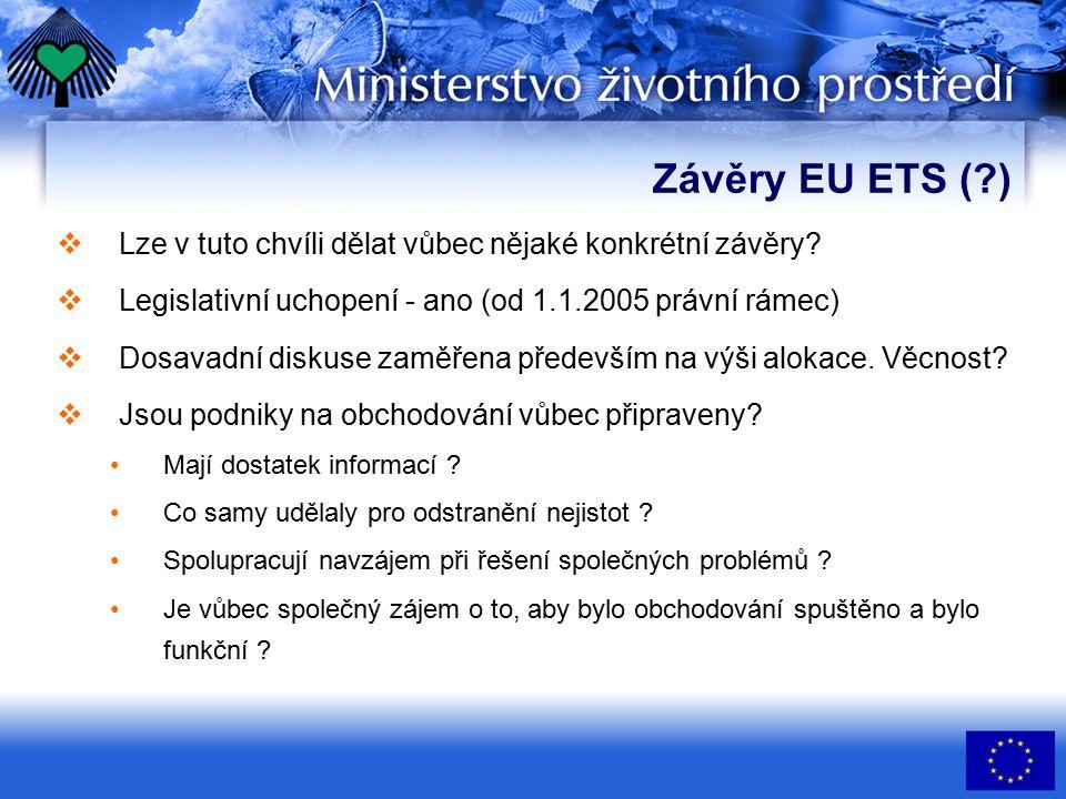 Závěry EU ETS (?)  Lze v tuto chvíli dělat vůbec nějaké konkrétní závěry.
