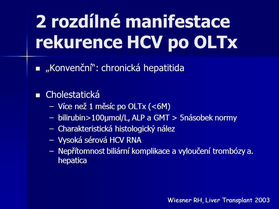 """2 rozdílné manifestace rekurence HCV po OLTx """"Konvenční"""": chronická hepatitida Cholestatická – –Více než 1 měsíc po OLTx (<6M) – –bilirubin>100μmol/L,"""