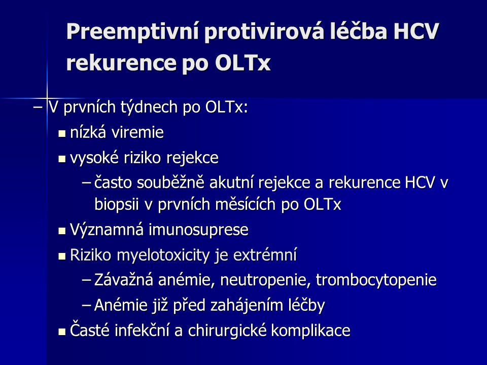 Preemptivní protivirová léčba HCV rekurence po OLTx –V prvních týdnech po OLTx: nízká viremie nízká viremie vysoké riziko rejekce vysoké riziko rejekc