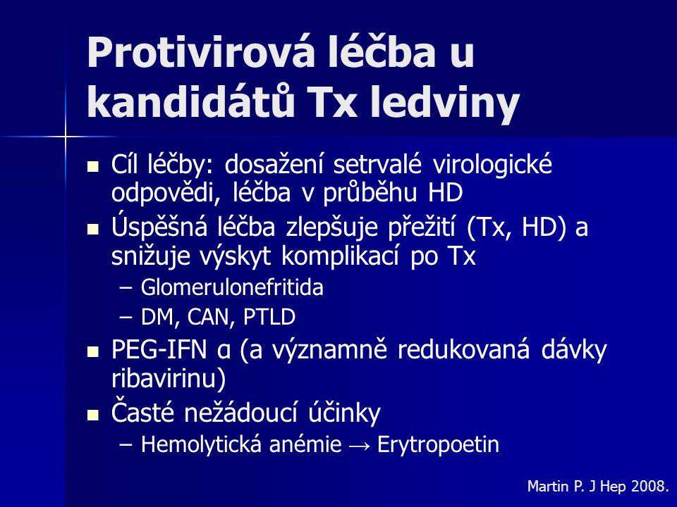 Protivirová léčba u kandidátů Tx ledviny Cíl léčby: dosažení setrvalé virologické odpovědi, léčba v průběhu HD Úspěšná léčba zlepšuje přežití (Tx, HD)