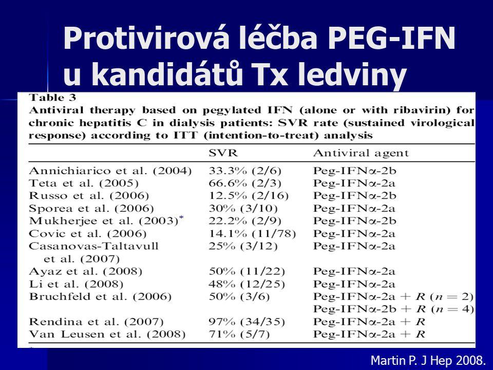 Protivirová léčba PEG-IFN u kandidátů Tx ledviny Martin P. J Hep 2008.