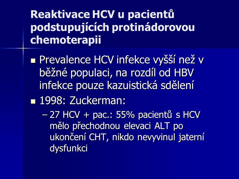 Reaktivace HCV u pacientů podstupujících protinádorovou chemoterapii Prevalence HCV infekce vyšší než v běžné populaci, na rozdíl od HBV infekce pouze