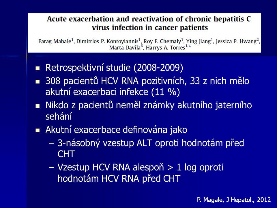 Retrospektivní studie (2008-2009) 308 pacientů HCV RNA pozitivních, 33 z nich mělo akutní exacerbaci infekce (11 %) Nikdo z pacientů neměl známky akut