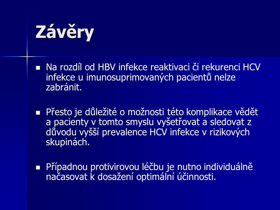Závěry Na rozdíl od HBV infekce reaktivaci či rekurenci HCV infekce u imunosuprimovaných pacientů nelze zabránit. Přesto je důležité o možnosti této k