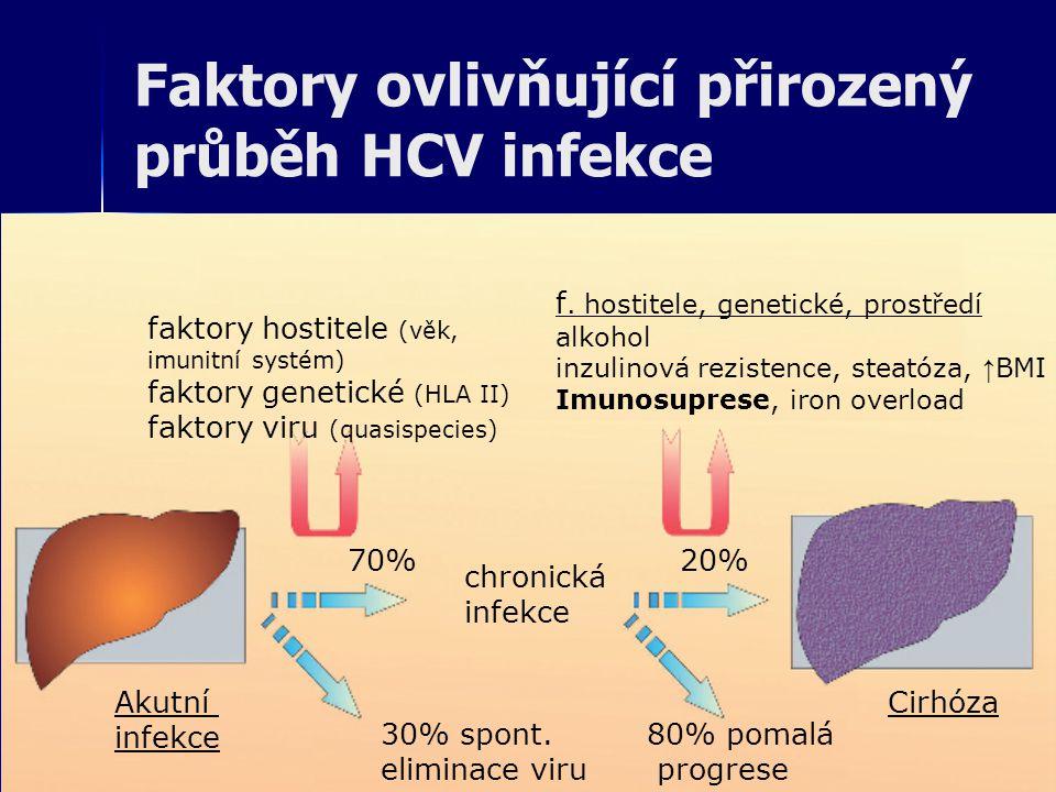 Faktory ovlivňující přirozený průběh HCV infekce Akutní infekce 70% 30% spont. eliminace viru Cirhóza 20% 80% pomalá progrese chronická infekce faktor