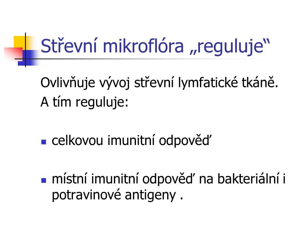 """Střevní mikroflóra """"reguluje"""" Ovlivňuje vývoj střevní lymfatické tkáně. A tím reguluje: celkovou imunitní odpověď místní imunitní odpověď na bakteriál"""