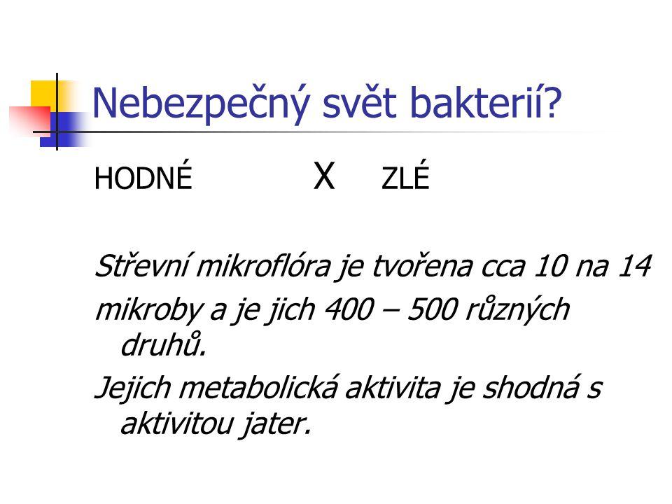 Nebezpečný svět bakterií? HODNÉ X ZLÉ Střevní mikroflóra je tvořena cca 10 na 14 mikroby a je jich 400 – 500 různých druhů. Jejich metabolická aktivit