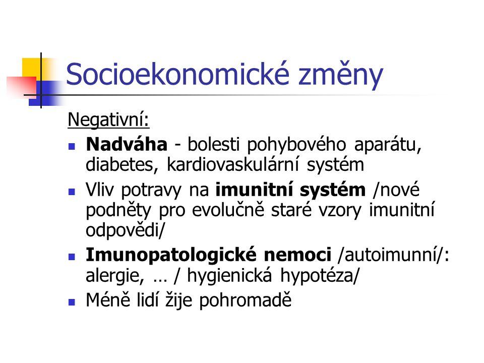 Socioekonomické změny Negativní: Nadváha - bolesti pohybového aparátu, diabetes, kardiovaskulární systém Vliv potravy na imunitní systém /nové podněty