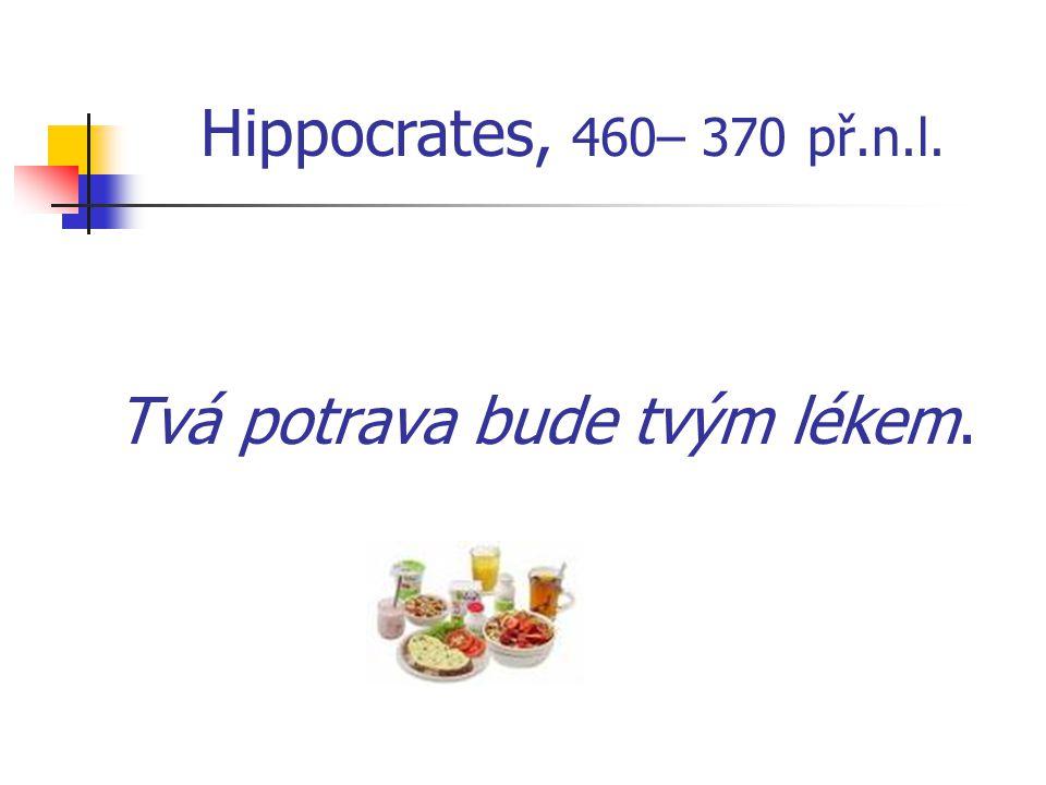 Tvá potrava bude tvým lékem. Hippocrates, 460– 370 př.n.l.