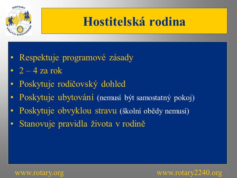 Hostitelská rodina Respektuje programové zásady 2 – 4 za rok Poskytuje rodičovský dohled Poskytuje ubytování (nemusí být samostatný pokoj) Poskytuje obvyklou stravu (školní obědy nemusí) Stanovuje pravidla života v rodině www.rotary.orgwww.rotary2240.org