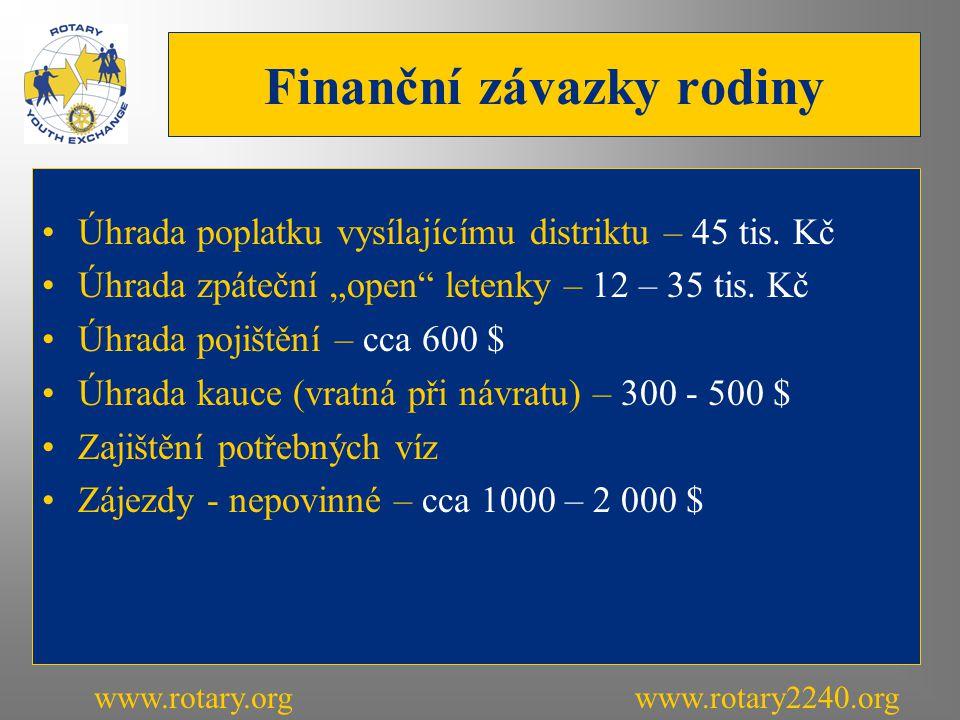 Finanční závazky rodiny Úhrada poplatku vysílajícímu distriktu – 45 tis.