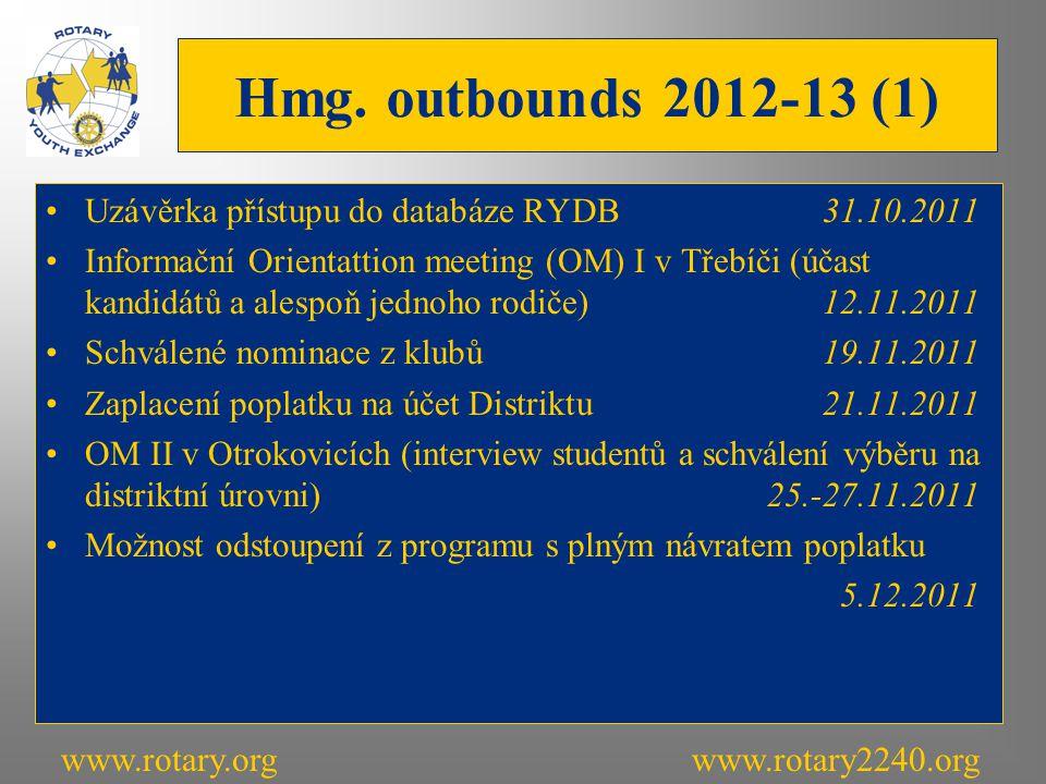 Hmg. outbounds 2012-13 (1) Uzávěrka přístupu do databáze RYDB31.10.2011 Informační Orientattion meeting (OM) I v Třebíči (účast kandidátů a alespoň je