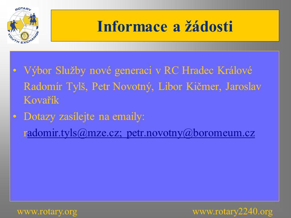 Informace a žádosti Výbor Služby nové generaci v RC Hradec Králové Radomír Tylš, Petr Novotný, Libor Kičmer, Jaroslav Kovařík Dotazy zasílejte na emaily: radomir.tyls@mze.cz; petr.novotny@boromeum.czadomir.tyls@mze.cz; petr.novotny@boromeum.cz www.rotary.orgwww.rotary2240.org