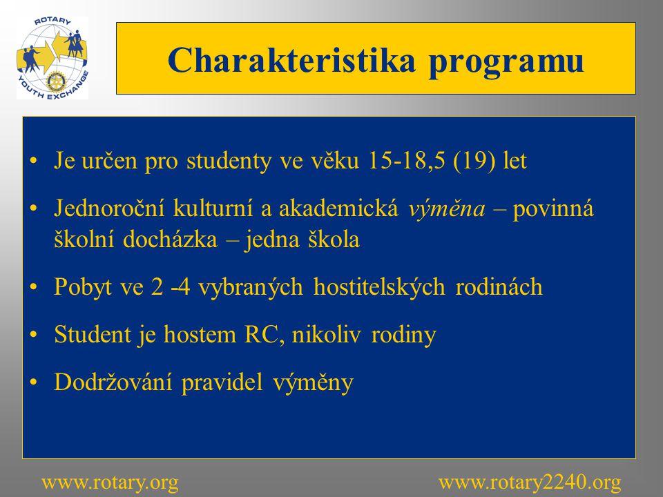 Charakteristika programu Je určen pro studenty ve věku 15-18,5 (19) let Jednoroční kulturní a akademická výměna – povinná školní docházka – jedna škola Pobyt ve 2 -4 vybraných hostitelských rodinách Student je hostem RC, nikoliv rodiny Dodržování pravidel výměny www.rotary.orgwww.rotary2240.org