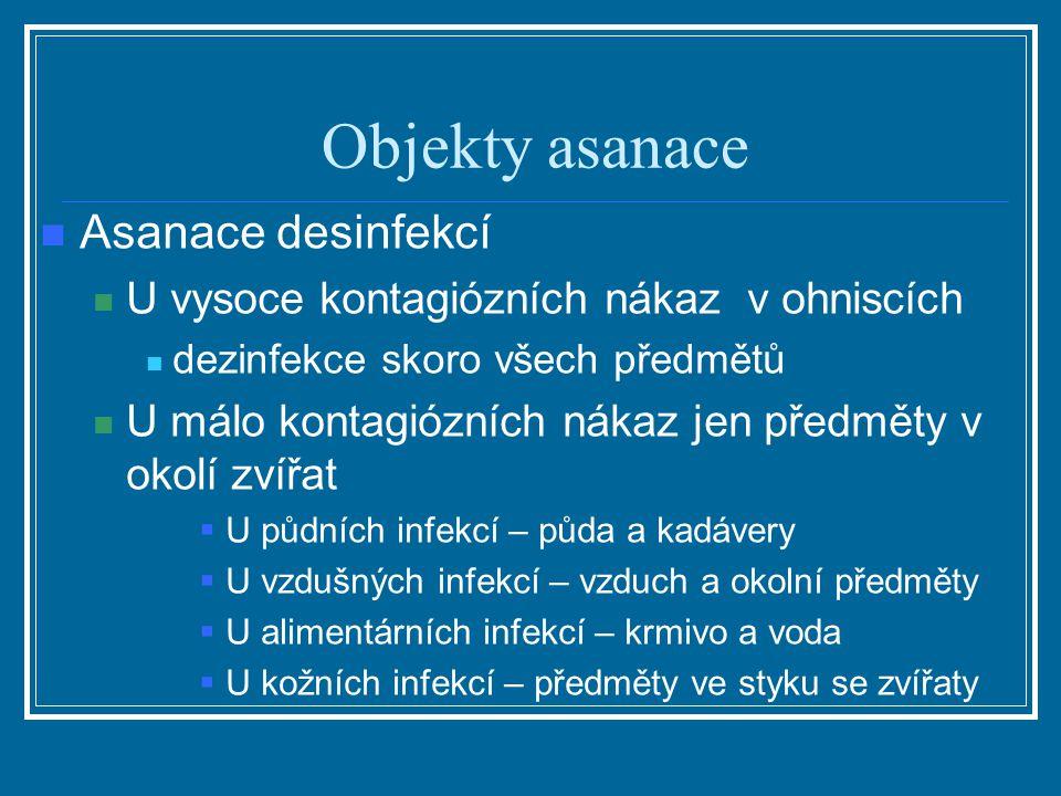 Objekty asanace Asanace desinfekcí U vysoce kontagiózních nákaz v ohniscích dezinfekce skoro všech předmětů U málo kontagiózních nákaz jen předměty v