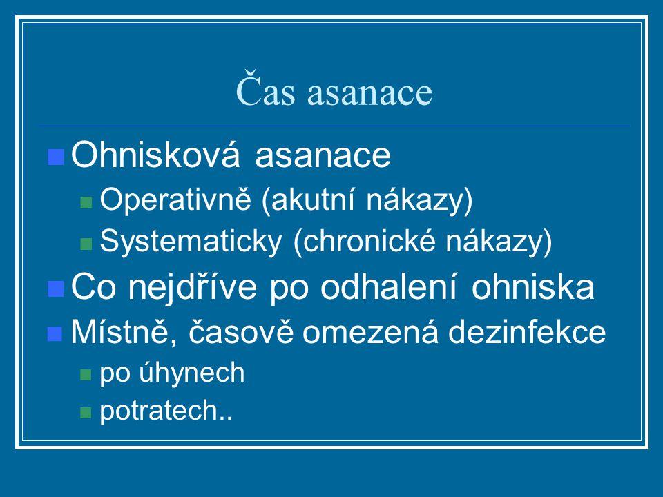 Čas asanace Ohnisková asanace Operativně (akutní nákazy) Systematicky (chronické nákazy) Co nejdříve po odhalení ohniska Místně, časově omezená dezinf