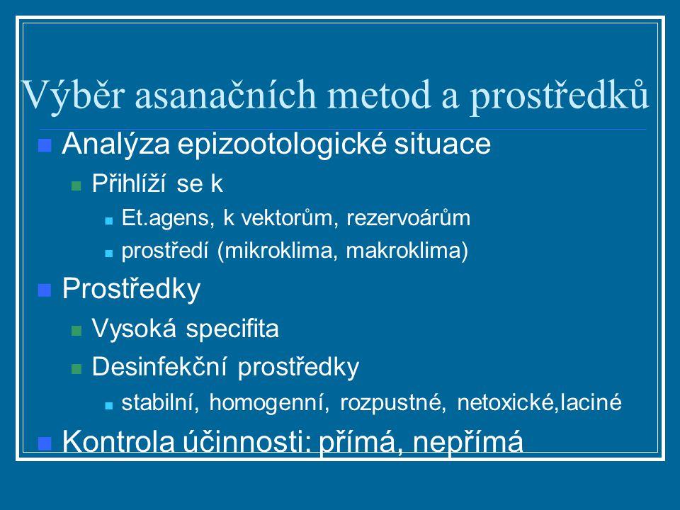 Výběr asanačních metod a prostředků Analýza epizootologické situace Přihlíží se k Et.agens, k vektorům, rezervoárům prostředí (mikroklima, makroklima)