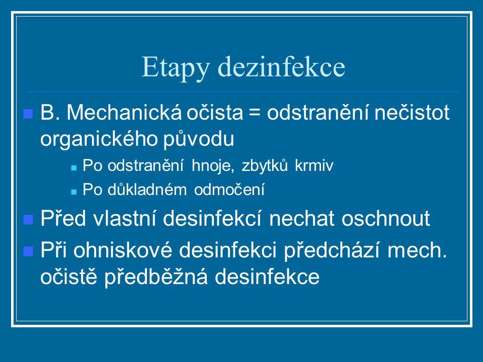 Etapy dezinfekce B. Mechanická očista = odstranění nečistot organického původu Po odstranění hnoje, zbytků krmiv Po důkladném odmočení Před vlastní de