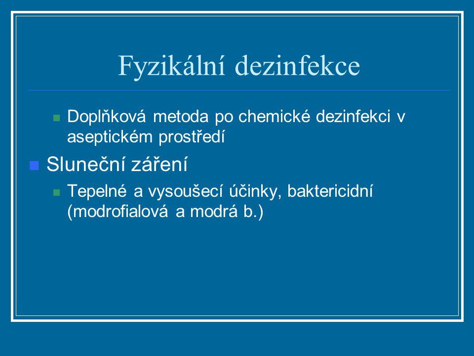 Fyzikální dezinfekce Doplňková metoda po chemické dezinfekci v aseptickém prostředí Sluneční záření Tepelné a vysoušecí účinky, baktericidní (modrofia