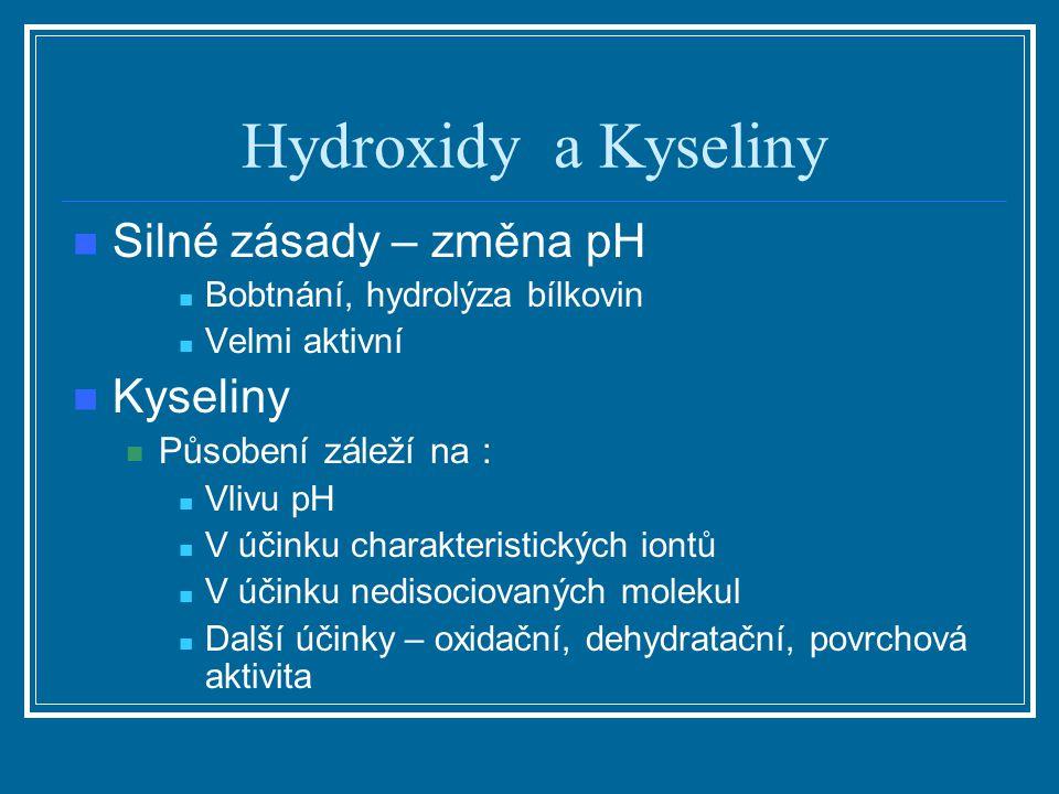 Hydroxidy a Kyseliny Silné zásady – změna pH Bobtnání, hydrolýza bílkovin Velmi aktivní Kyseliny Působení záleží na : Vlivu pH V účinku charakteristic