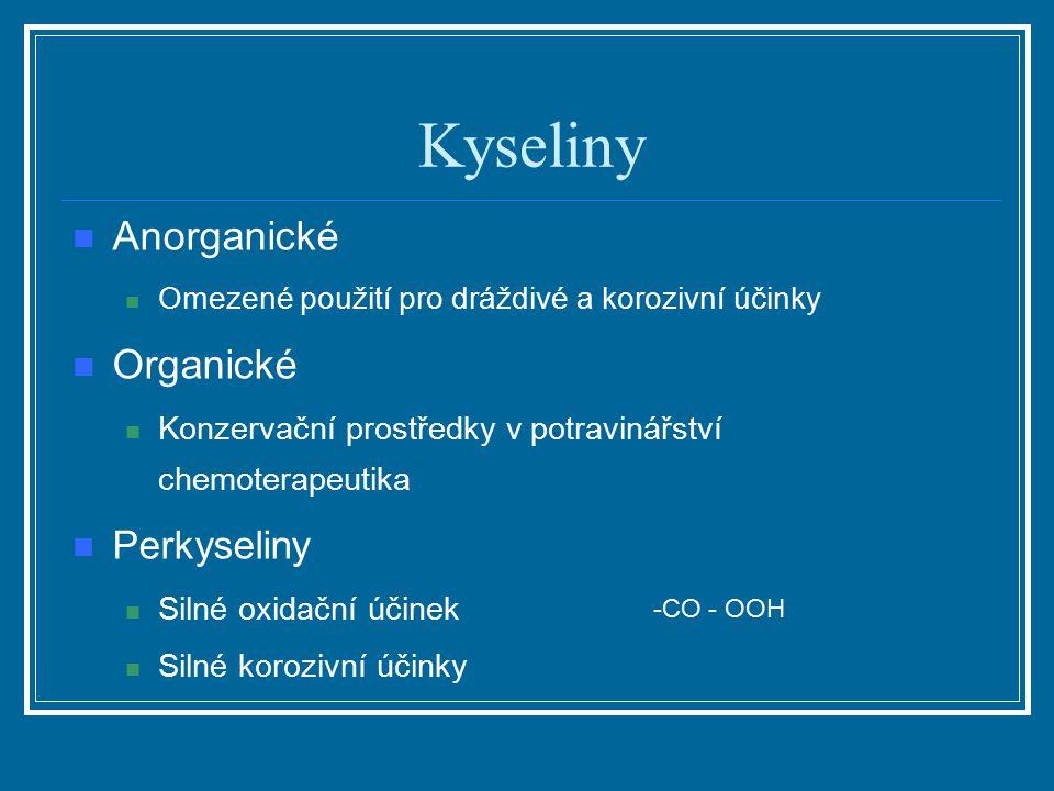 Kyseliny Anorganické Omezené použití pro dráždivé a korozivní účinky Organické Konzervační prostředky v potravinářství chemoterapeutika Perkyseliny Si