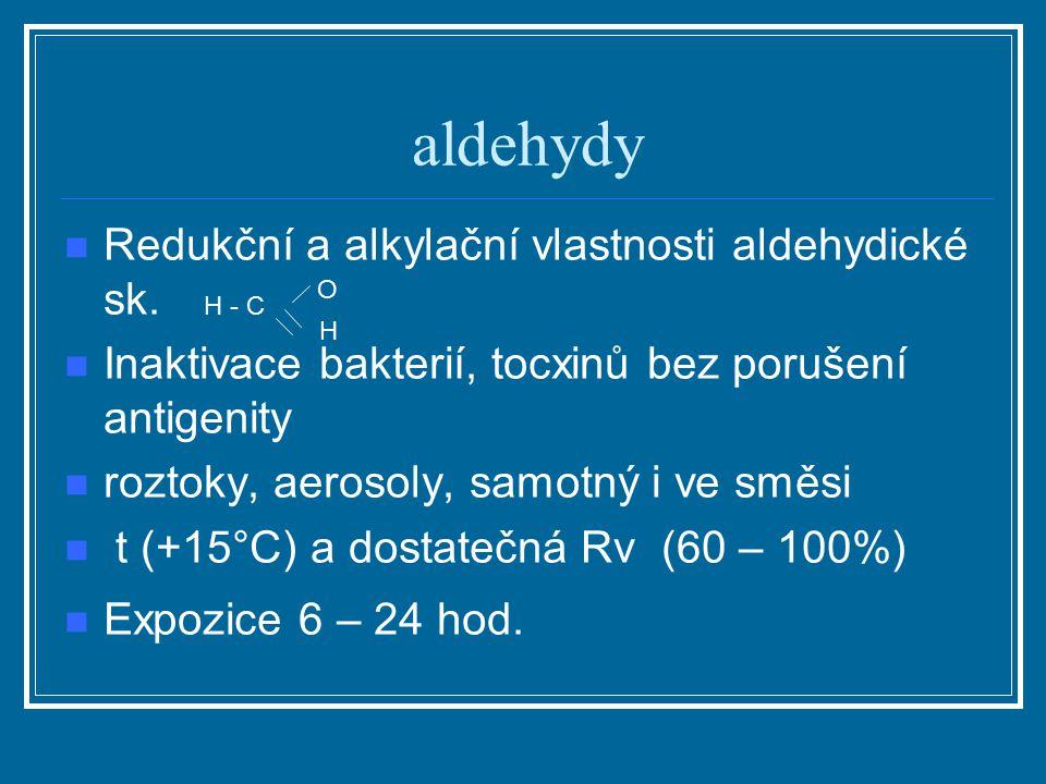 aldehydy Redukční a alkylační vlastnosti aldehydické sk. Inaktivace bakterií, tocxinů bez porušení antigenity roztoky, aerosoly, samotný i ve směsi t