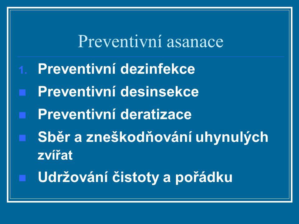 Preventivní asanace 1. Preventivní dezinfekce Preventivní desinsekce Preventivní deratizace Sběr a zneškodňování uhynulých zvířat Udržování čistoty a