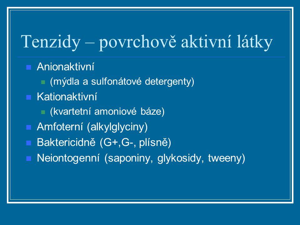 Tenzidy – povrchově aktivní látky Anionaktivní (mýdla a sulfonátové detergenty) Kationaktivní (kvartetní amoniové báze) Amfoterní (alkylglyciny) Bakte