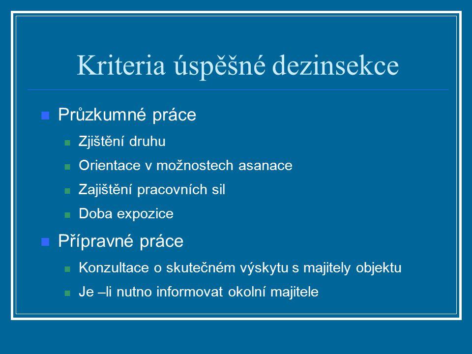 Kriteria úspěšné dezinsekce Průzkumné práce Zjištění druhu Orientace v možnostech asanace Zajištění pracovních sil Doba expozice Přípravné práce Konzu