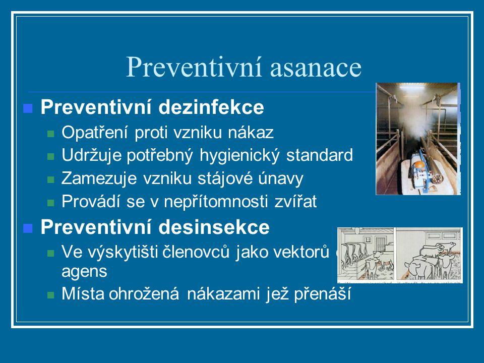 Preventivní asanace Preventivní dezinfekce Opatření proti vzniku nákaz Udržuje potřebný hygienický standard Zamezuje vzniku stájové únavy Provádí se v