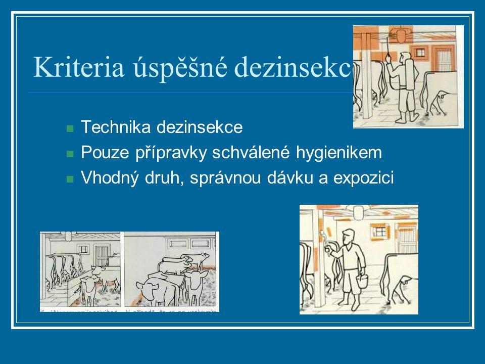 Kriteria úspěšné dezinsekce Technika dezinsekce Pouze přípravky schválené hygienikem Vhodný druh, správnou dávku a expozici