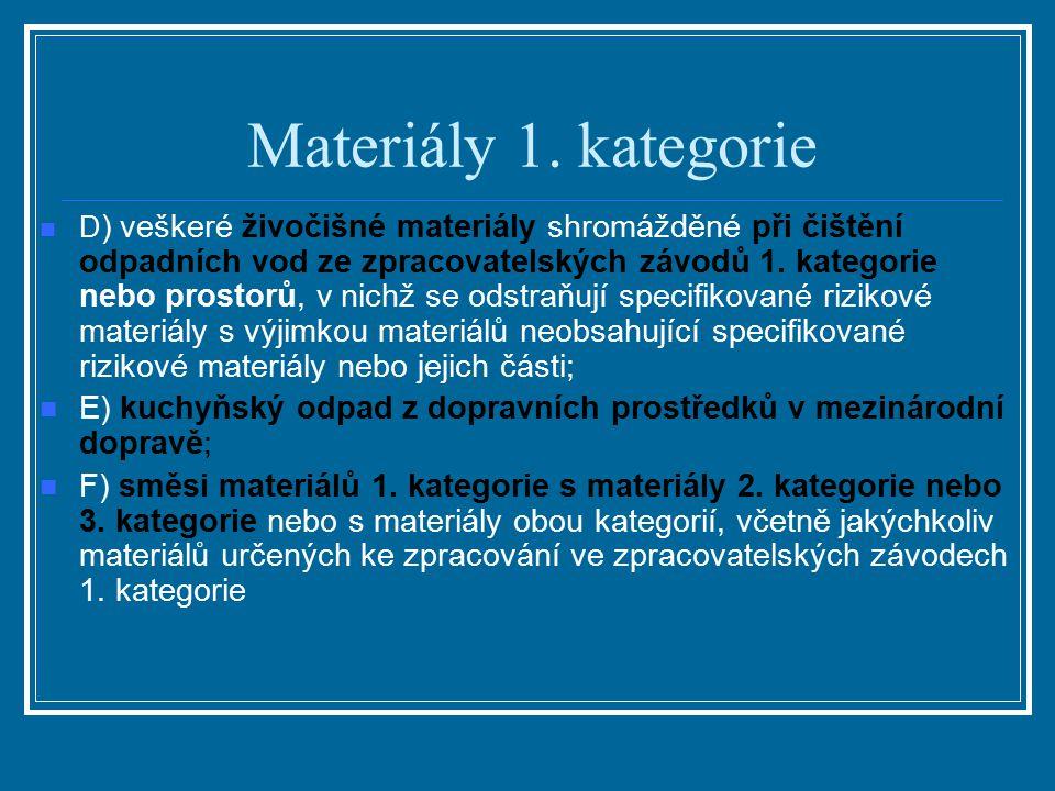 Materiály 1. kategorie D ) veškeré živočišné materiály shromážděné při čištění odpadních vod ze zpracovatelských závodů 1. kategorie nebo prostorů, v