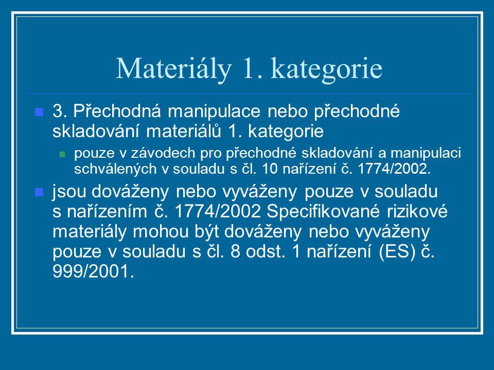 Materiály 1. kategorie 3. Přechodná manipulace nebo přechodné skladování materiálů 1. kategorie pouze v závodech pro přechodné skladování a manipulaci