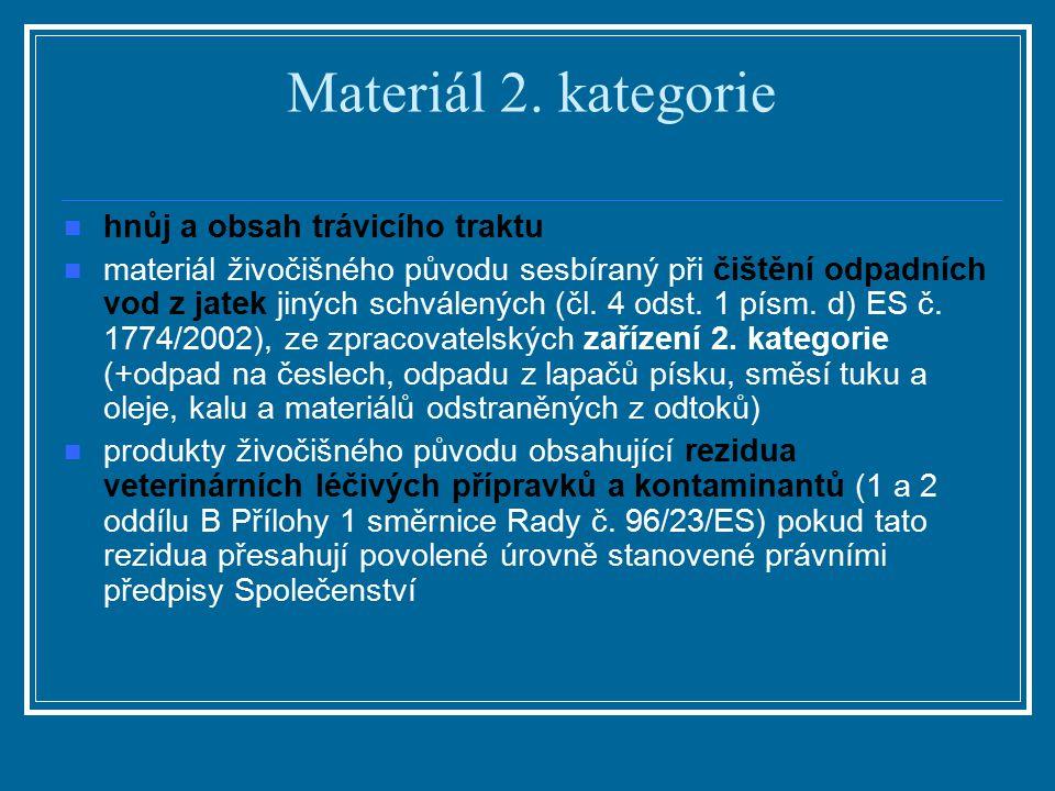 Materiál 2. kategorie hnůj a obsah trávicího traktu materiál živočišného původu sesbíraný při čištění odpadních vod z jatek jiných schválených (čl. 4