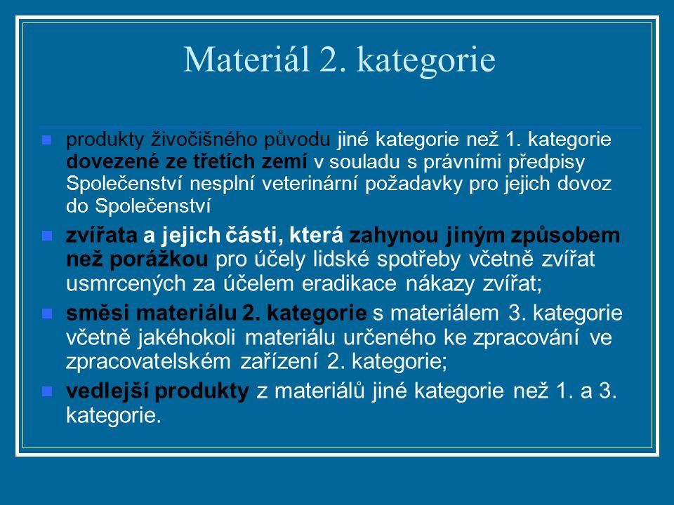 Materiál 2. kategorie produkty živočišného původu jiné kategorie než 1. kategorie dovezené ze třetích zemí v souladu s právními předpisy Společenství