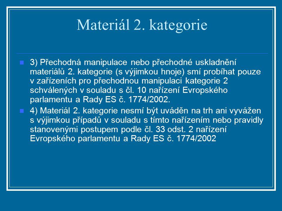 Materiál 2. kategorie 3) Přechodná manipulace nebo přechodné uskladnění materiálů 2. kategorie (s výjimkou hnoje) smí probíhat pouze v zařízeních pro
