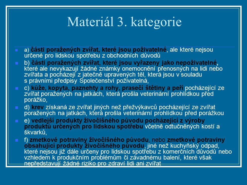 Materiál 3. kategorie a) části poražených zvířat, které jsou poživatelné, ale které nejsou určené pro lidskou spotřebu z obchodních důvodů b) části po