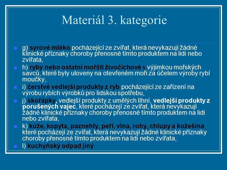 Materiál 3. kategorie g) syrové mléko pocházející ze zvířat, která nevykazují žádné klinické příznaky choroby přenosné tímto produktem na lidi nebo zv