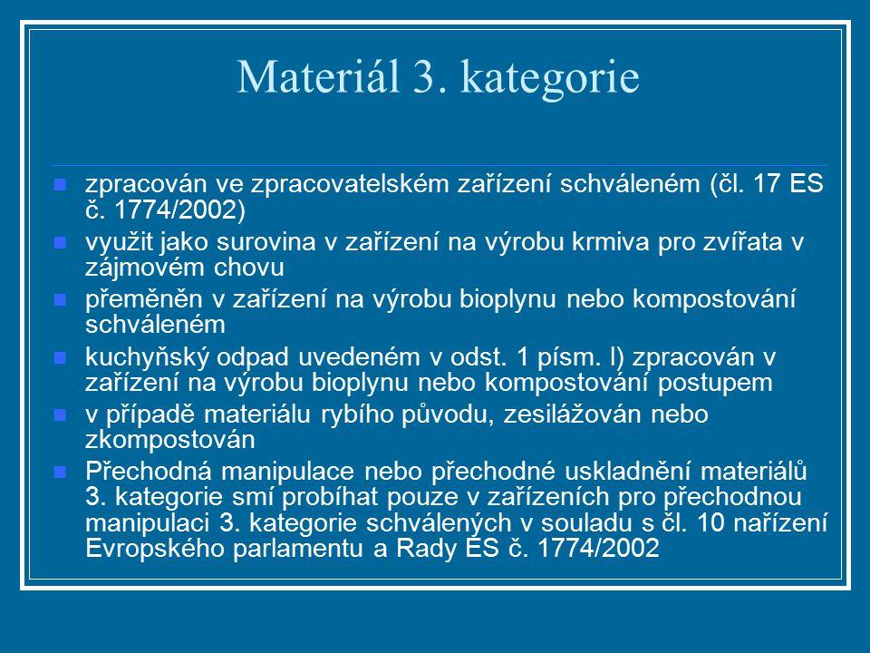 Materiál 3. kategorie zpracován ve zpracovatelském zařízení schváleném (čl. 17 ES č. 1774/2002) využit jako surovina v zařízení na výrobu krmiva pro z