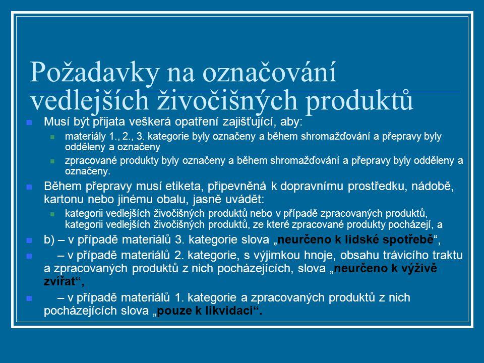 Požadavky na označování vedlejších živočišných produktů Musí být přijata veškerá opatření zajišťující, aby: materiály 1., 2., 3. kategorie byly označe