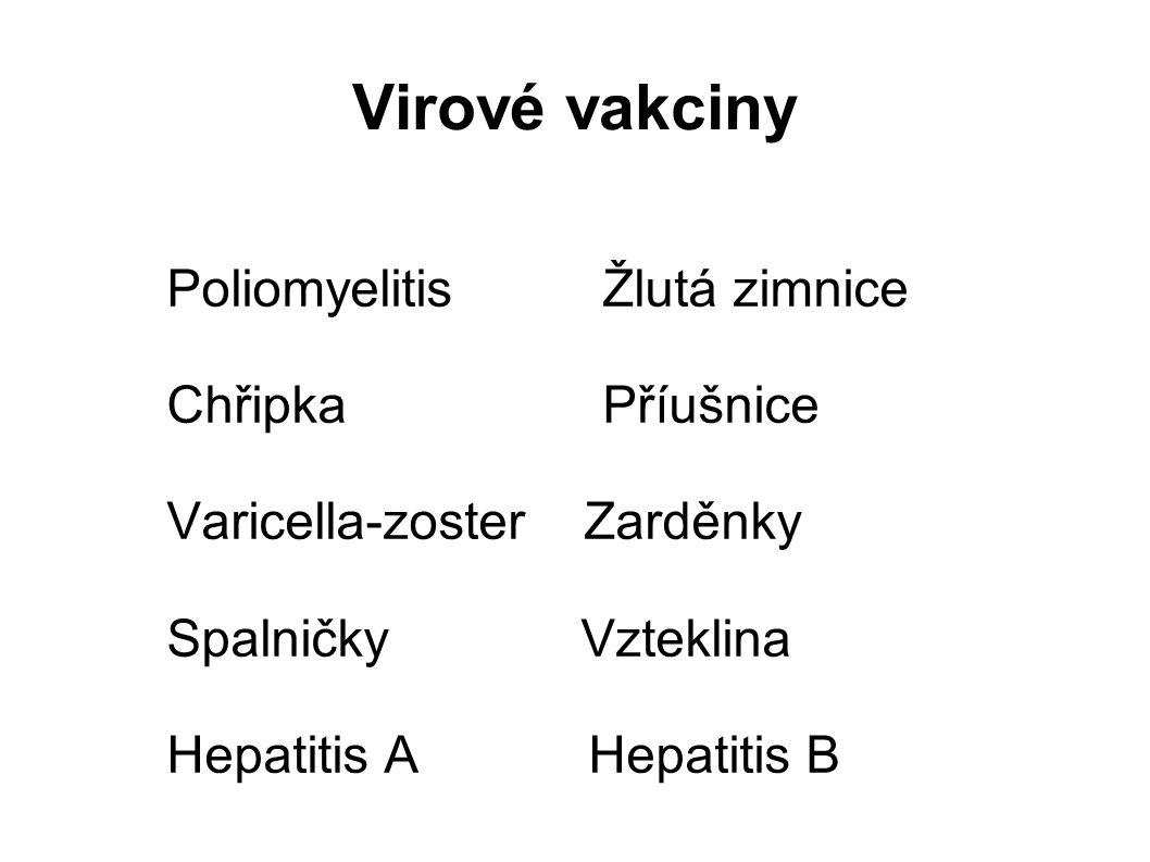 Virové vakciny Poliomyelitis Žlutá zimnice Chřipka Příušnice Varicella-zoster Zarděnky Spalničky Vzteklina Hepatitis AHepatitis B