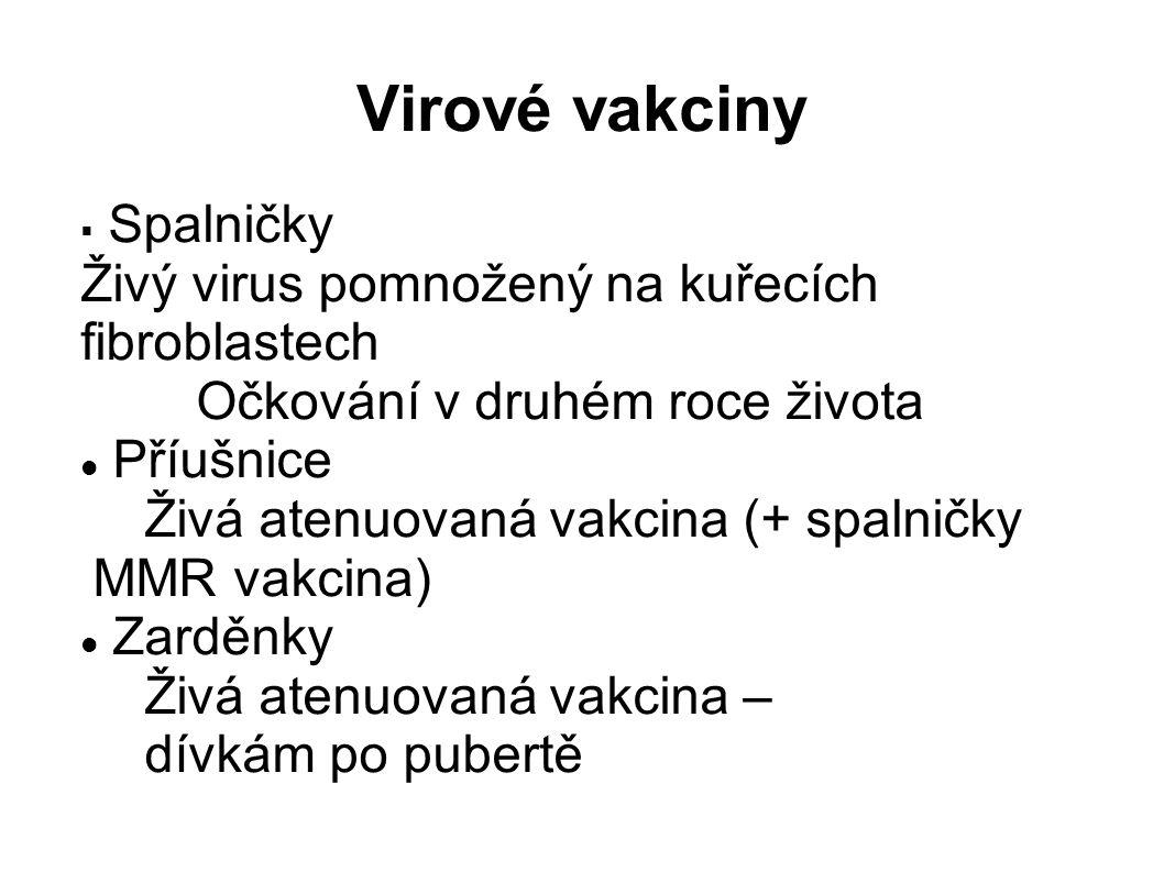 Virové vakciny  Spalničky Živý virus pomnožený na kuřecích fibroblastech Očkování v druhém roce života Příušnice Živá atenuovaná vakcina (+ spalničky MMR vakcina) Zarděnky Živá atenuovaná vakcina – dívkám po pubertě