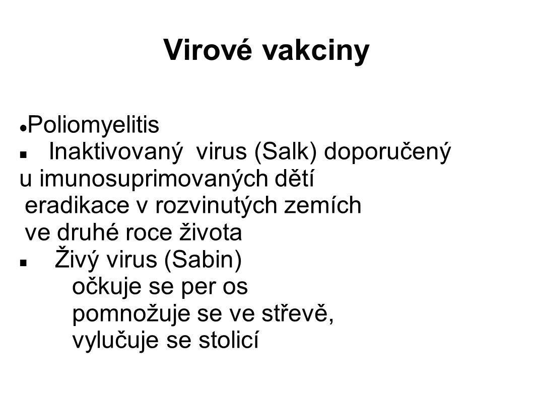 Virové vakciny Poliomyelitis Inaktivovaný virus (Salk) doporučený u imunosuprimovaných dětí eradikace v rozvinutých zemích ve druhé roce života Živý virus (Sabin) očkuje se per os pomnožuje se ve střevě, vylučuje se stolicí