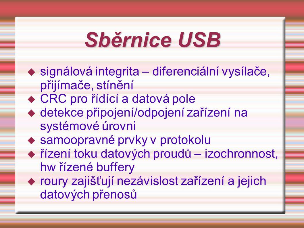 Sběrnice USB  signálová integrita – diferenciální vysílače, přijímače, stínění  CRC pro řídící a datová pole  detekce připojení/odpojení zařízení n
